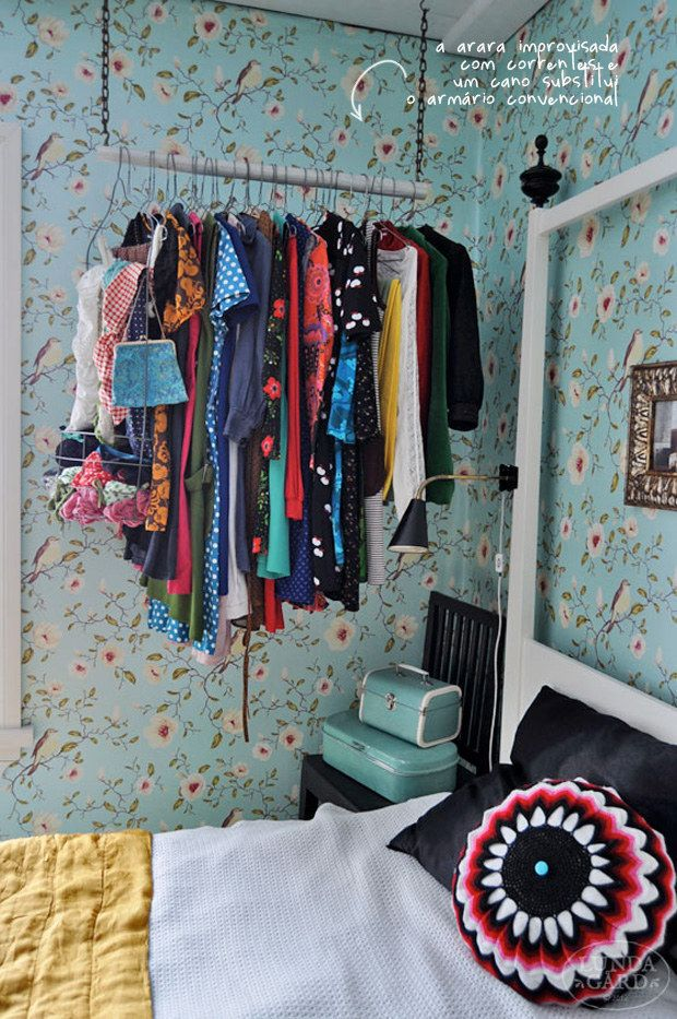 Repurpose The Closet. | 31 Tiny House Hacks To Maximize Your Space....Use A  Rustic Stick/tree Branch For The Rod
