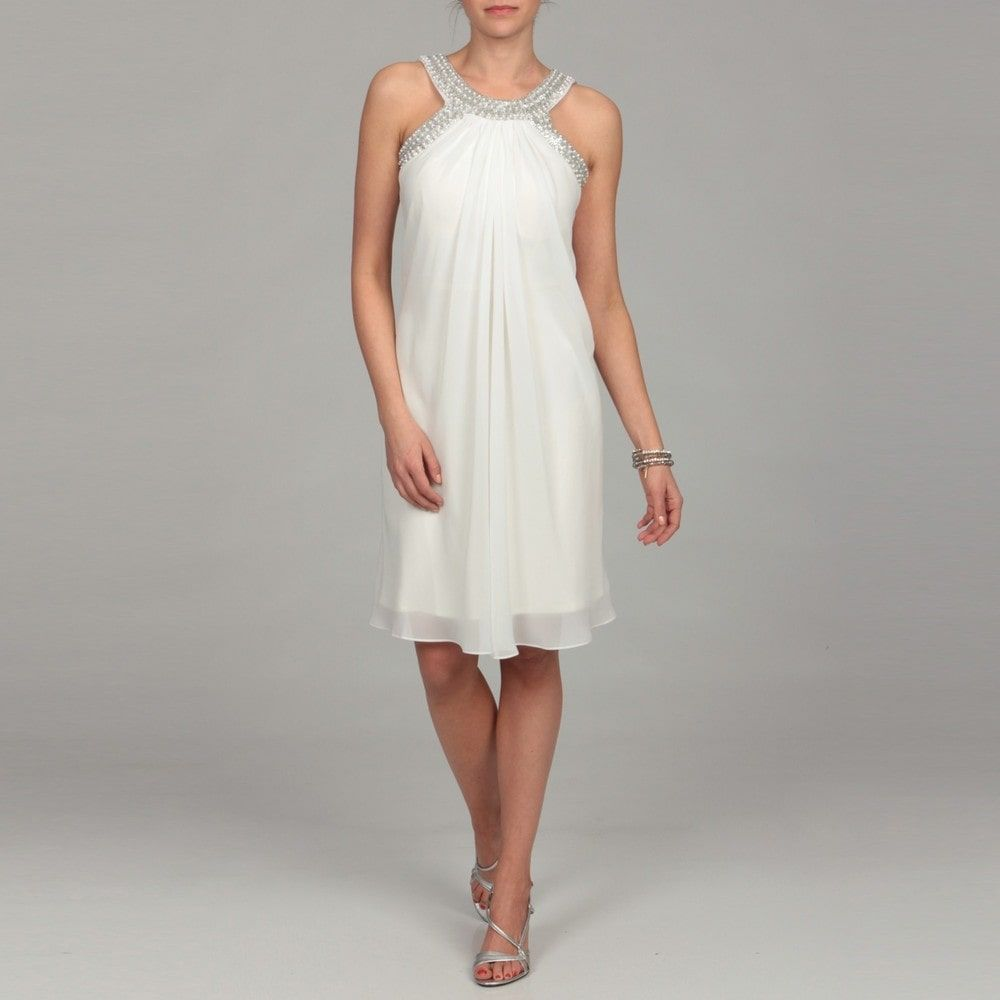 Dresses For Vow Renewal Ceremony: Scarlett Women's Ivory Beaded Neck Dress