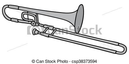 Vector Classic Silver Trombone Stock Illustration Royalty