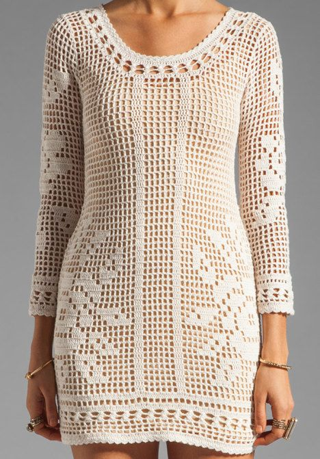 Crochet dress PATTERN, HQ filet grid + TUTORIAL in English, sexy ...