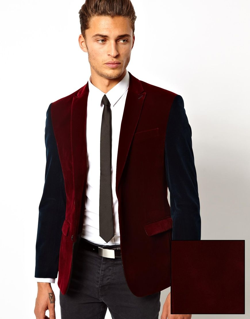 Tallia Orange Big and Tall Red Two-Button Velvet Blazer | Men's