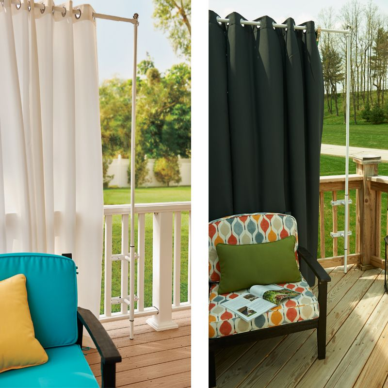 Railing Curtain Rod And 2 Posts Deck Curtains Outdoor Curtains And Decking