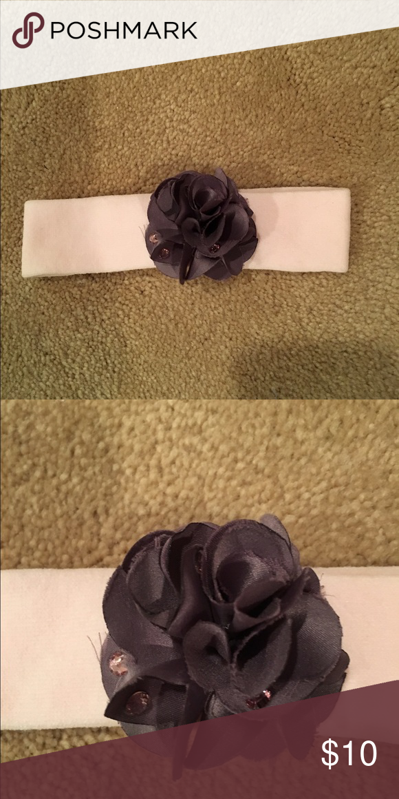 Stretch cotton w/satin & rhinestone flower Light pink comfy stretch cotton headband with gray satin flower accented with gray rhinestones.  Worn when about 3-6 months size. Accessories Hair Accessories