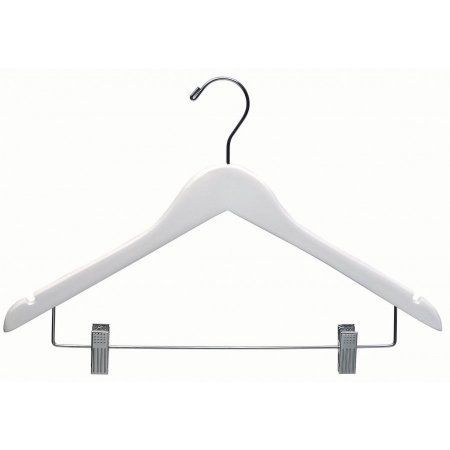 White Wood Combo Hanger W Cushion Clips Box Of 100 E Saving 17 Inch Flat Wooden Hangers Chrome Swivel Hook Notches For Shirt Jacket Or Dress By