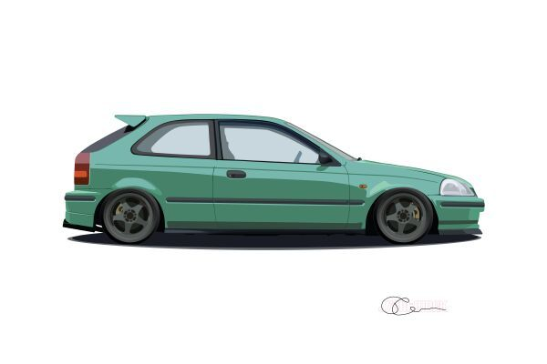 1996 Honda Civic Hatchback Print J7artwork Civic Hatchback Honda Civic Hatchback Honda Hatchback
