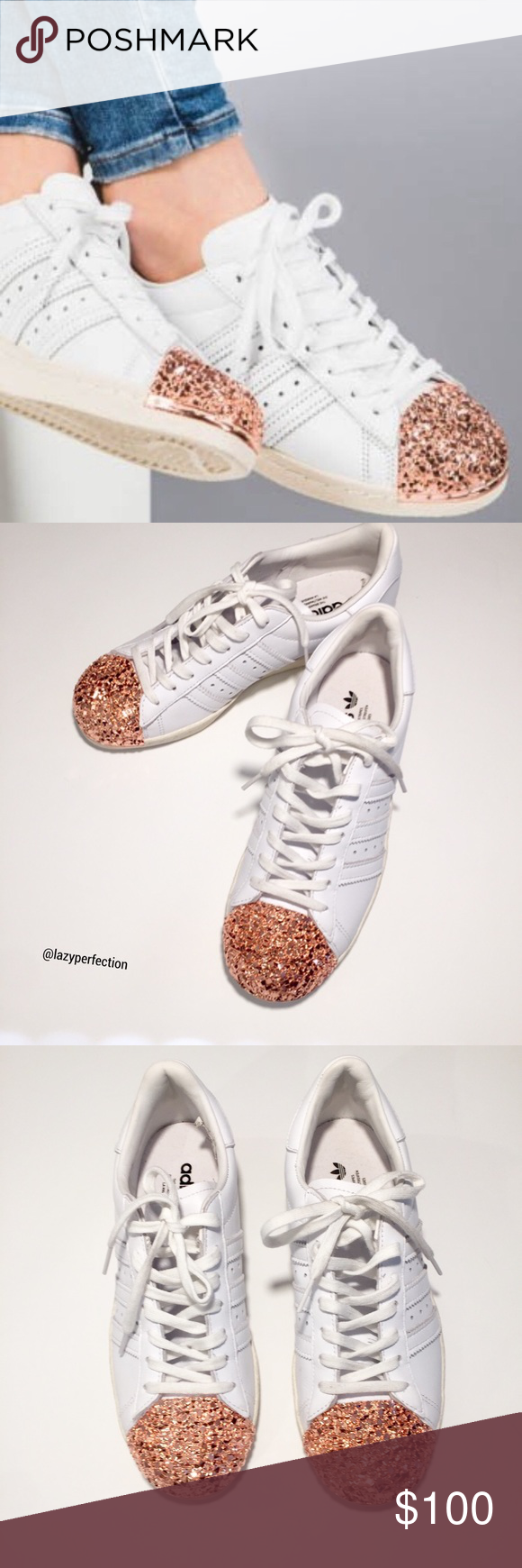 Adidas Superstar 80s Rose Gold 3D Metal Toe Cap 8 Adidas Superstar 80s  Sneaker with Rose Gold 3D Metal Toe Cap Size 8 Full Grain Leather.  Condition  NWOB. 6958fbe5c172