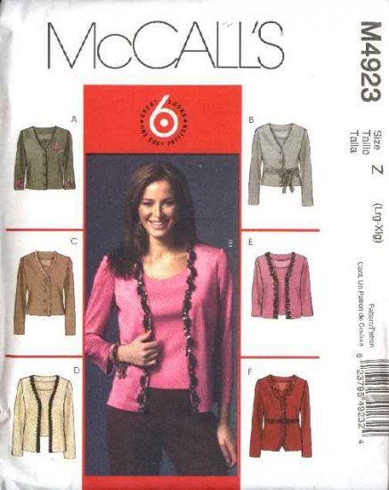 McCall's Sewing Pattern 4923 Misses Size 16-22 Easy Knit Cardigan Tank Top Shell Twin-Set  --  Currently Available for sale from www.MoonwishesSewingandCrafts.com
