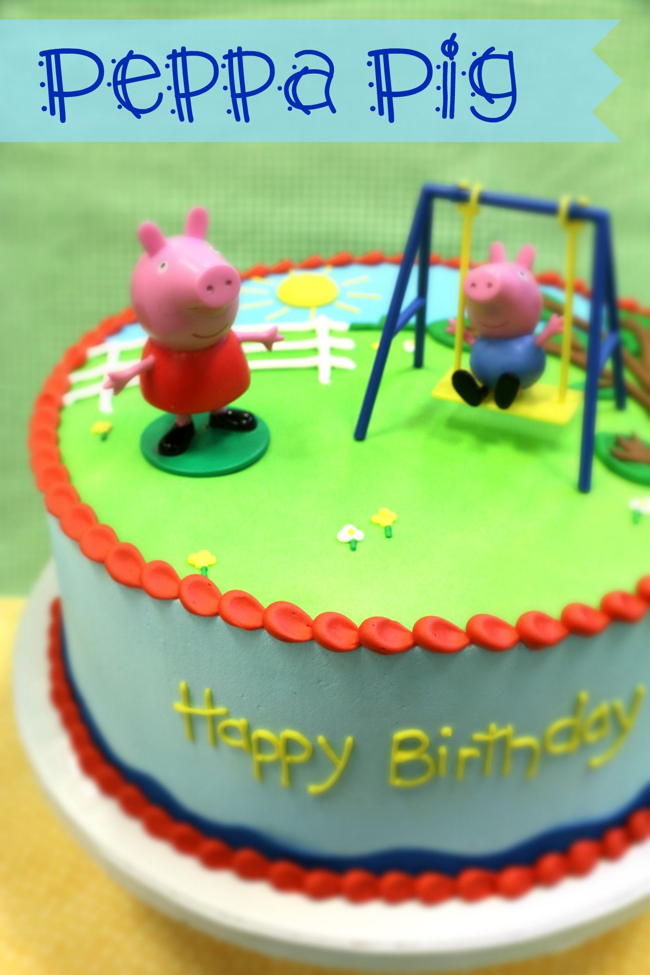 Outstanding Peppa Pig Cake Topper With Images Peppa Pig Cake Peppa Pig Funny Birthday Cards Online Overcheapnameinfo
