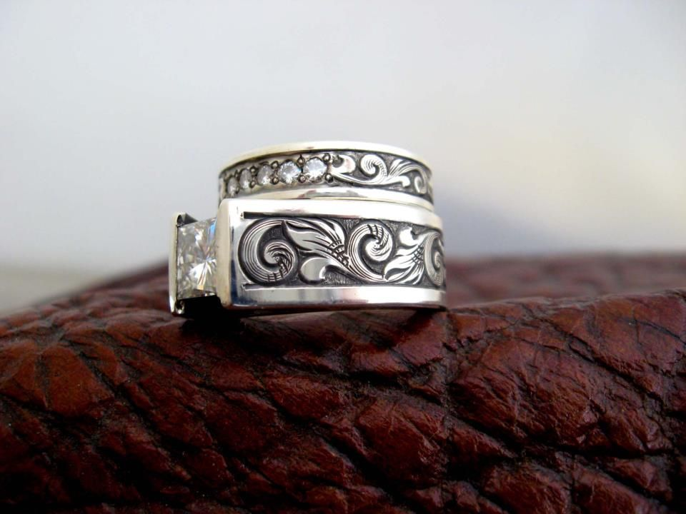 custom made western wedding rings by travis stringer