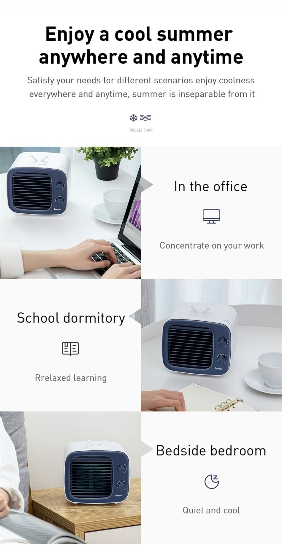 Baseus Air Cooler Fan Portable Air Conditioner Humidifier