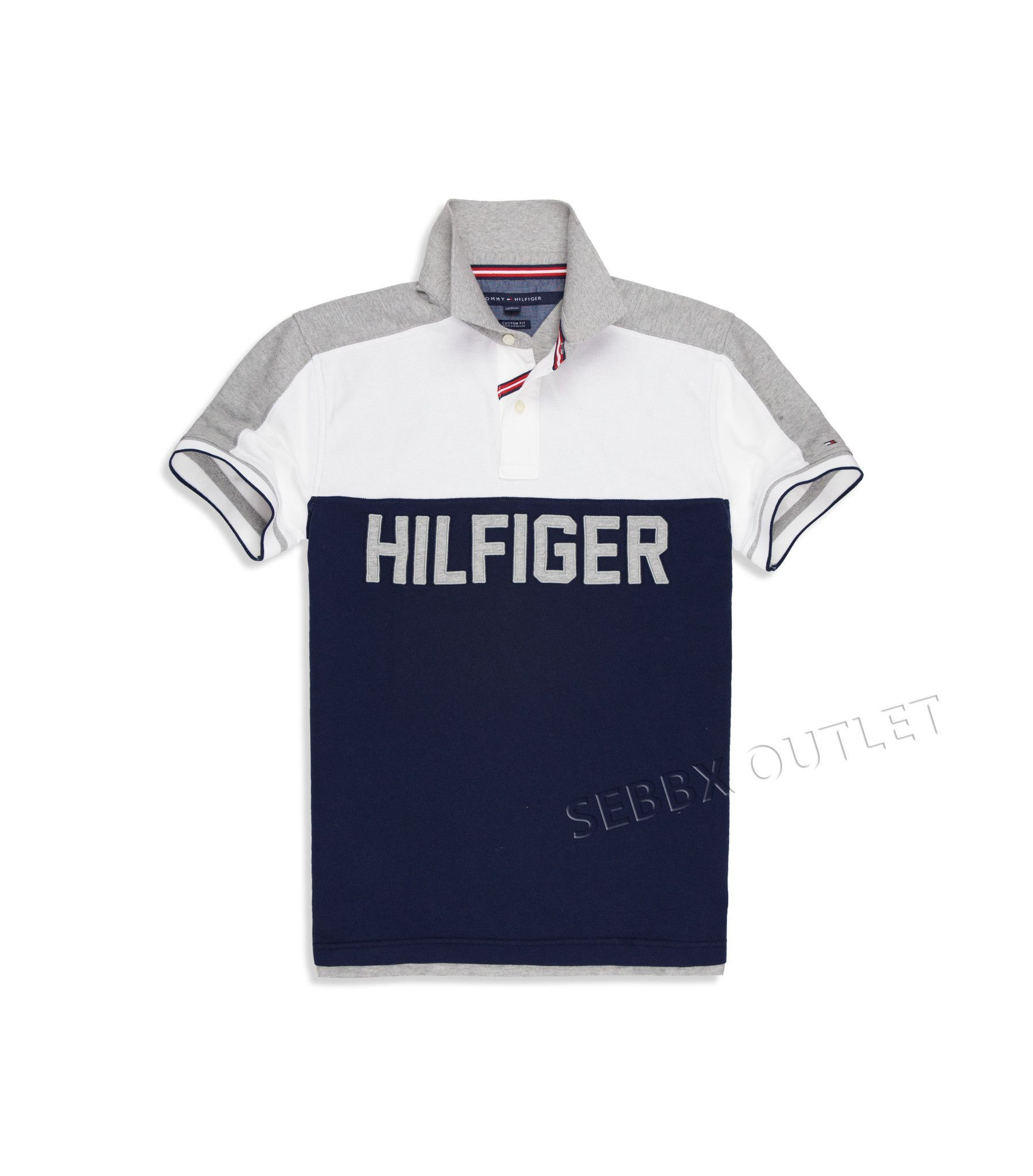 1d253562d Tommy Hilfiger Polo Shirt Custom Fit Gray Blue White Pieced Polo | Rugby  polos | Tommy hilfiger polo shirts, Custom shirts, Polo