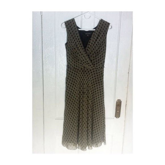 Sleek Polka-Dot Dress  • Only worn a few times • Super cute for a date night! • Throw on a black blazer and wear it to the office • Colors are black and light Olive • Shell : 100% Silk, Lining : 100% Polyester Adrianna Dresses Midi