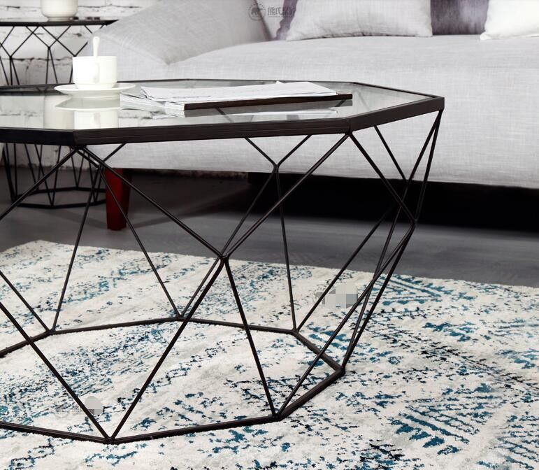 Nordic Iron Size Apartment Living Room Coffee Table Glass Round