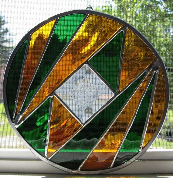 Stained Glass Round Geometric Suncatcher By