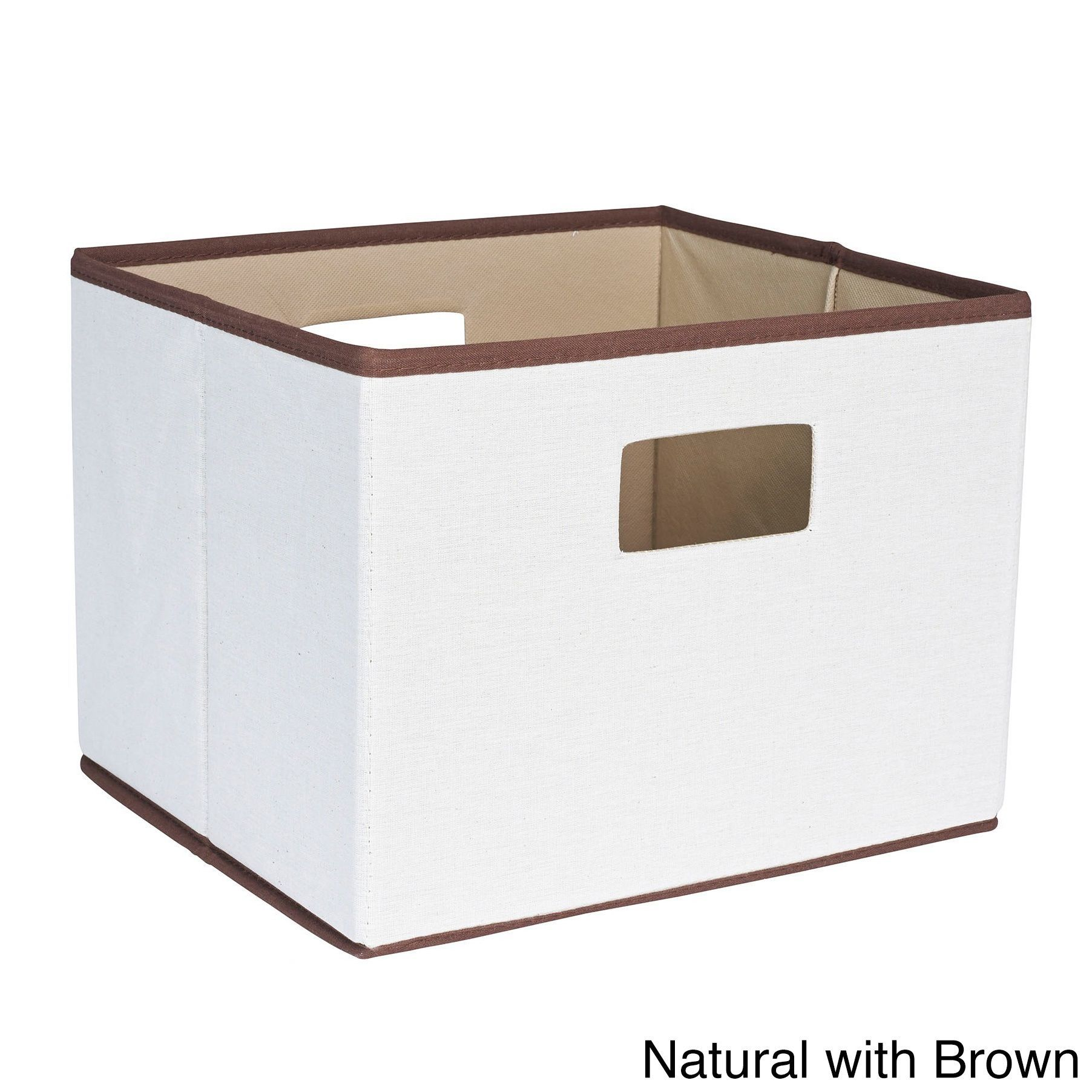 Household Essentials White Grey Green Off White Brown Fabric 10 Inch X 13 Inch X 11 5 Inch Cutout Handles Open Storage Bin Storage Bins Fabric Storage Bins Household