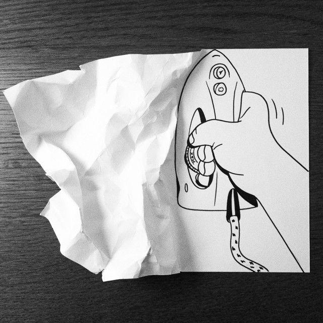 Folhas De Papel Criam Ilusões De ótica às Ilustrações Illusions - Creative comical paper drawings