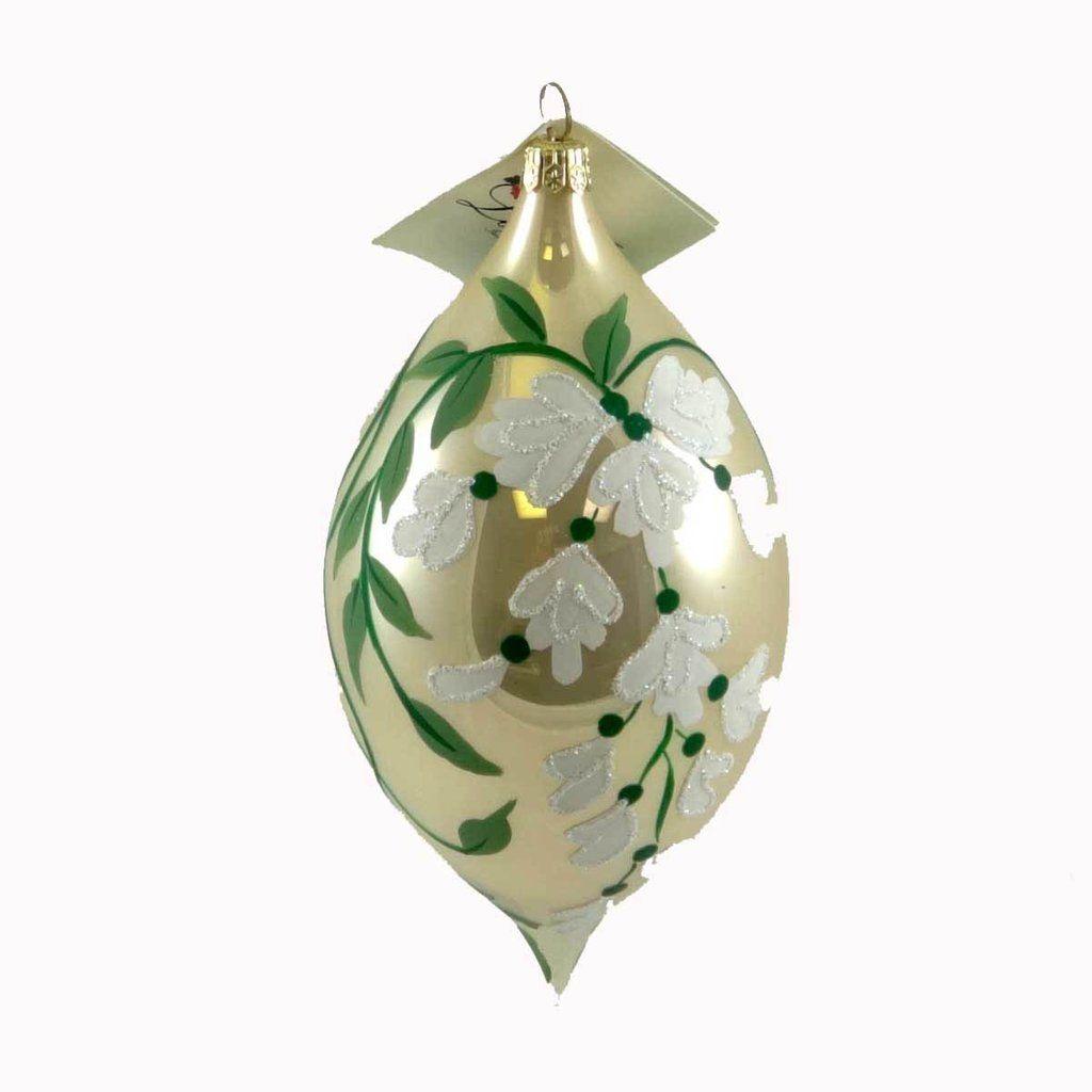 Laved Italian Ornaments White Glitter Flower Tear Drop Glass ...