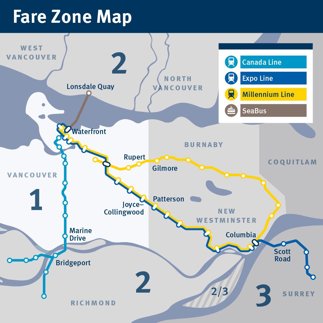 Canada Line Fare Zone Map Fare Zone Map   Small | Map, Zone, Metro