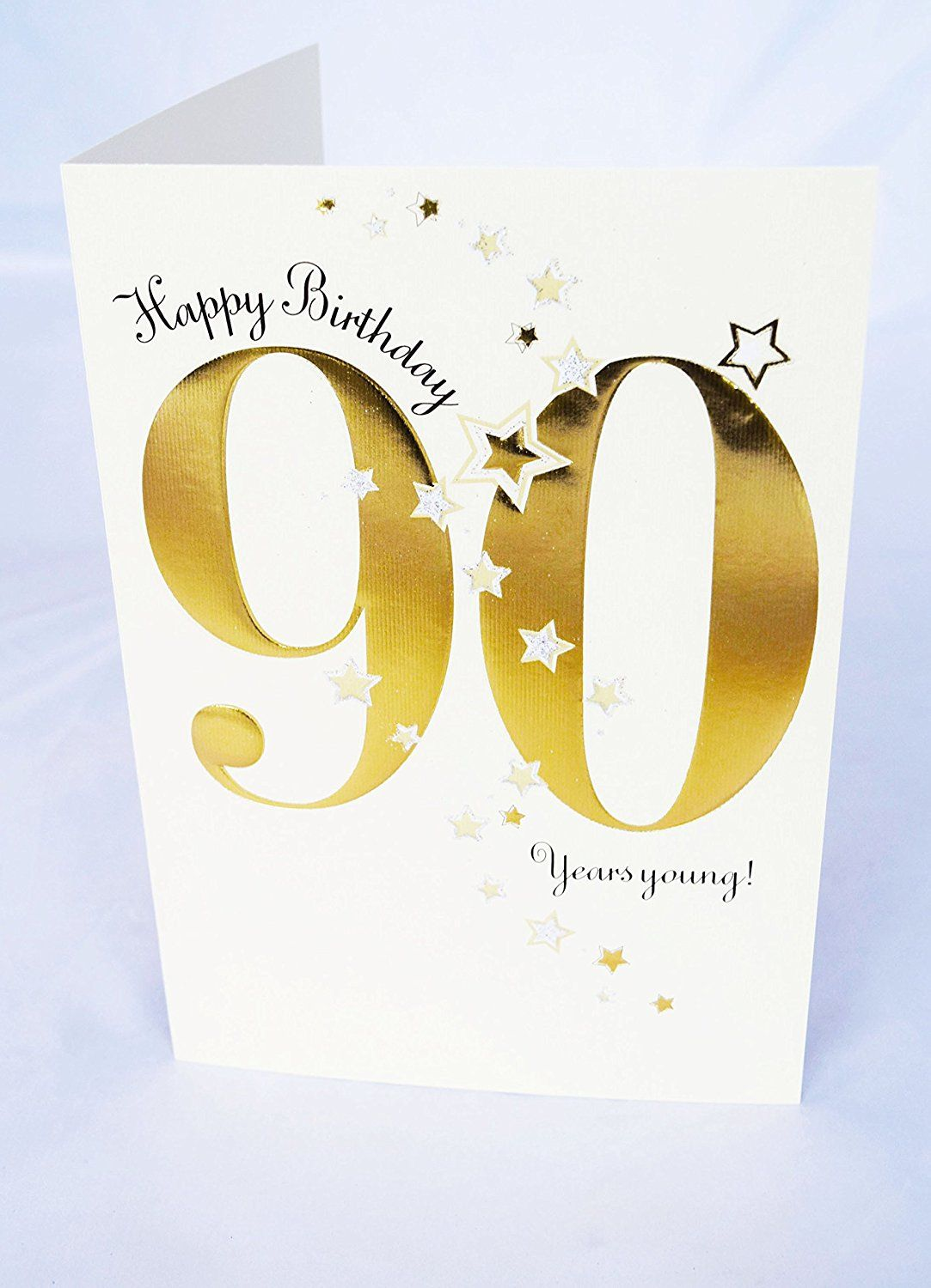 Happy 90th Birthday Card For Him Her Unisex Luxury Star Greeting With Verse Amazoncouk Office Products