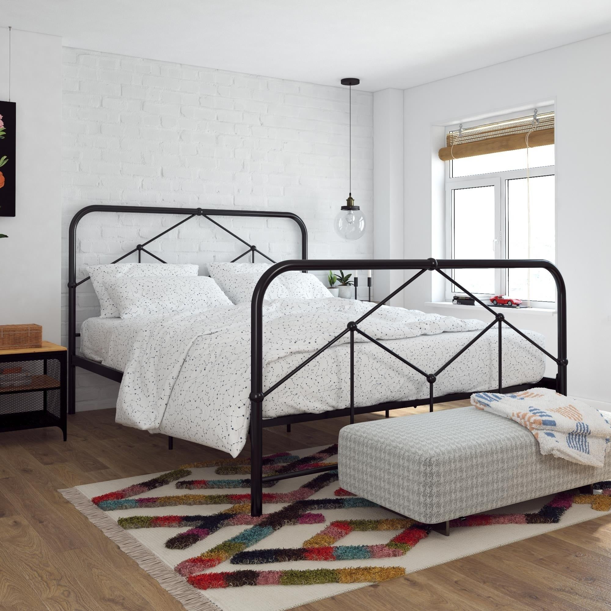 Novogratz Francis Farmhouse Metal Bed With Images Metal Beds Bed Frame Black Metal Bed Frame