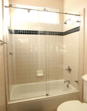 Bathroom Interior, Enhance The Bathroom Value With The Frameless Bathtub  Doors: Sliding Frameless Bathtub Doors