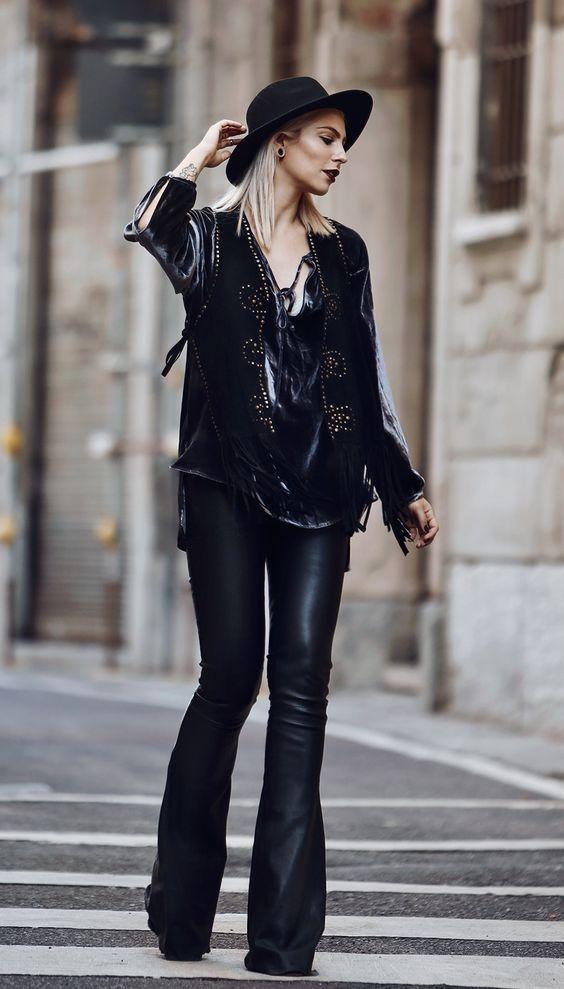 Hippie Rock Street Style  Black Hat  3b19689f23d8