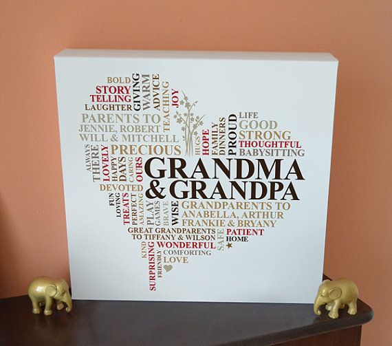 canvas grandparents gift joint family gift personalised word art grandparents thanksgiving. Black Bedroom Furniture Sets. Home Design Ideas
