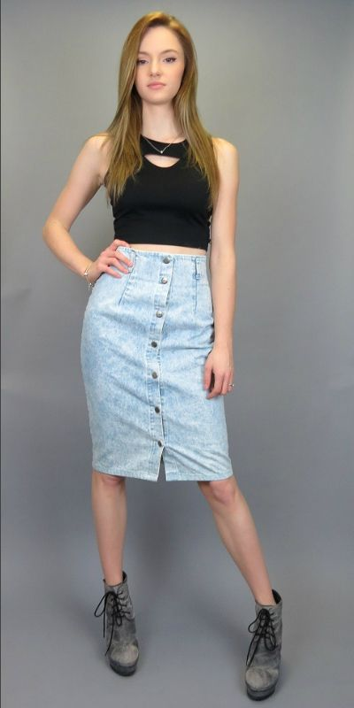 4cdb01b80e Vintage 80s 90s High Waisted Acid Wash Jean Skirt Fitted Pencil Skirt  Rocker Button Up Front Knee Length Denim Normcore Hipster High Waist Skirt  by ...