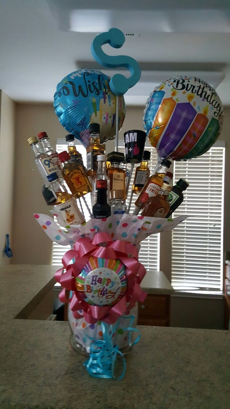 21 mini liquor bottle bouquet. Made this for my daughters
