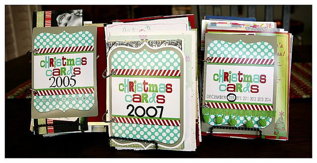 Christmas card books with printable cover - I'm totally doing this today!