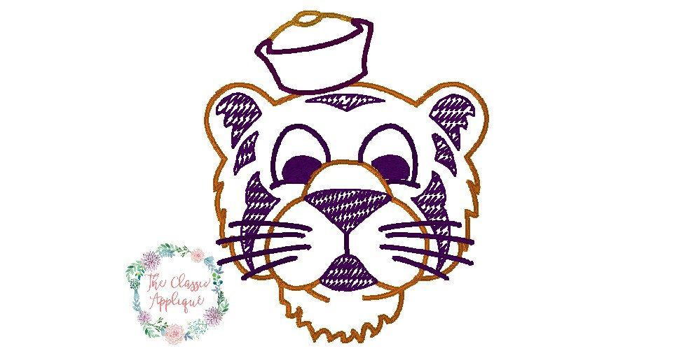 Vintage Inspired Football Tiger In Vintage Quick Bean Stitch Design File For Embroidery By T Vintage Embroidery Embroidery Patterns Vintage Embroidery Patterns