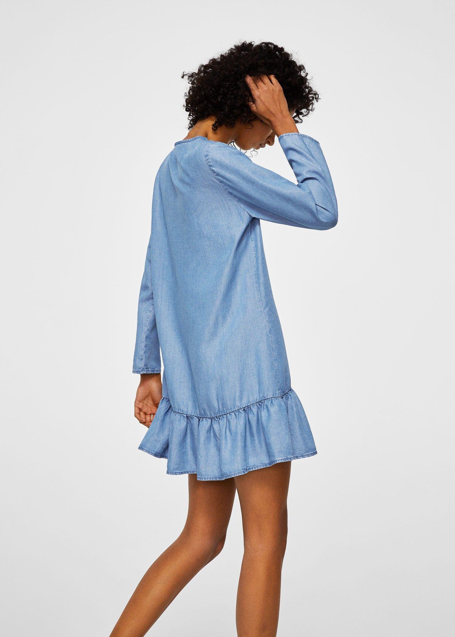 top fashion outlet boutique exclusive range Mango Frills Denim Dress - 6 | Womens denim dress, Dresses, Denim ...