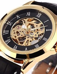 Men's Classic Skeleton Roman Dial  Leather Band Automatic Self Wind Wrist Watch Cool Watch Unique Watch