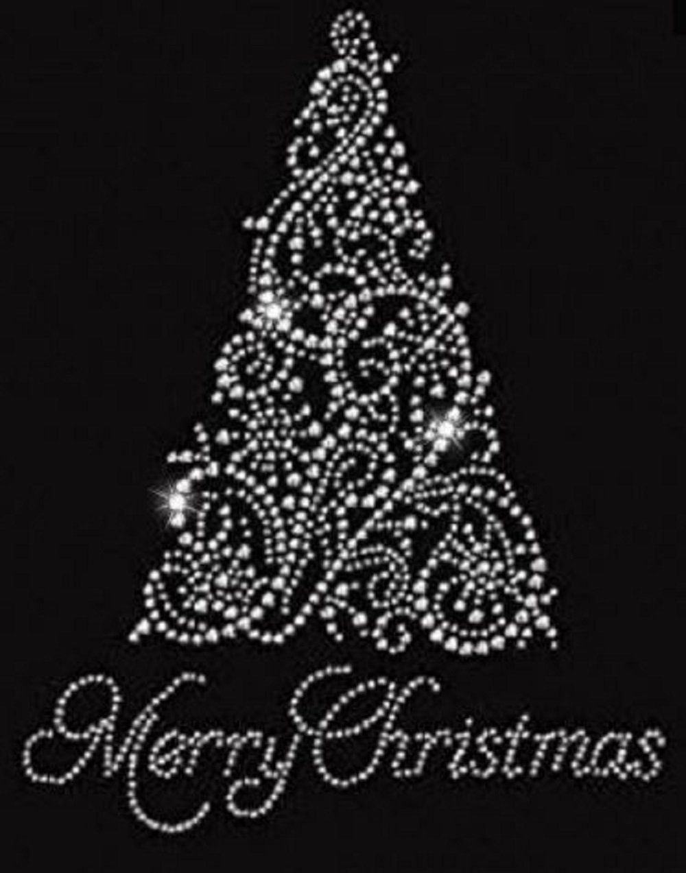Merry Christmas Tree Rhinestone Iron On T Shirt Design Rhinestone Designs Pattern Rhinestone Shirts Christmas Mandala