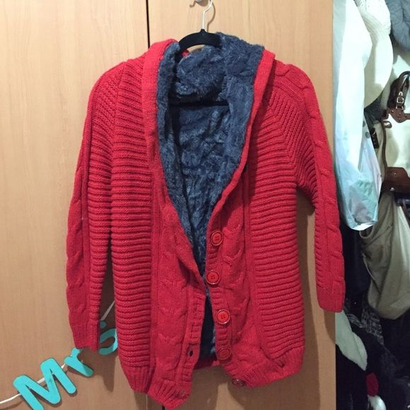 Red hooded cardigan sweater with fur lining New, doesn't have tags ...