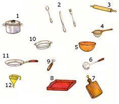 Gli utensili di cucina Vocabolario italiano illustrato