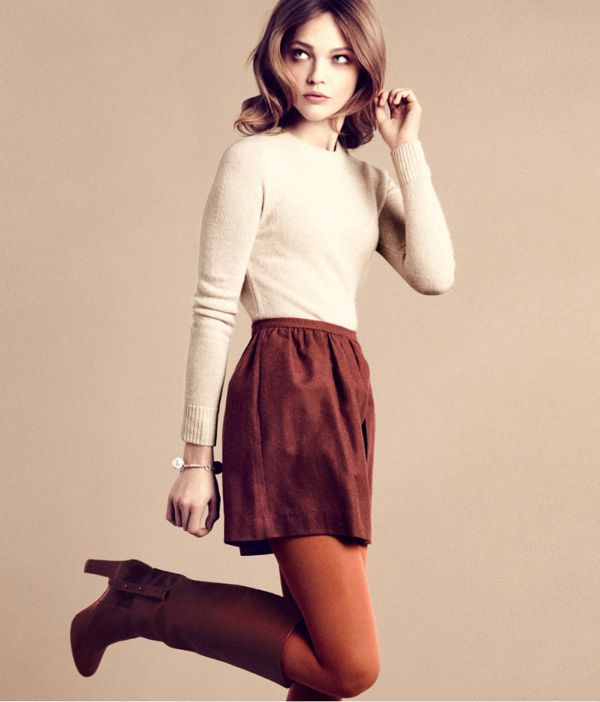 b912a9a8b6545 H&M Cream top, Brick red skirt and tights. | she's got the look ...