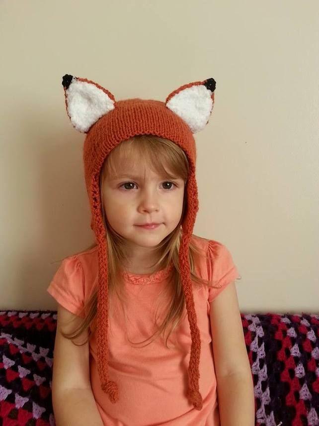 knitted earflap hat, fox hat. Handmade, Cornwall, Foxy Loxy ...