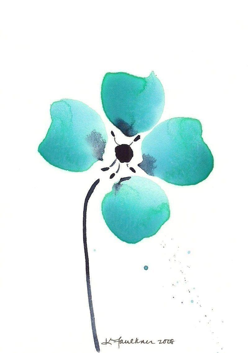 Abstract watercolor flower art print aqua loves indigo for Abstract watercolour flowers