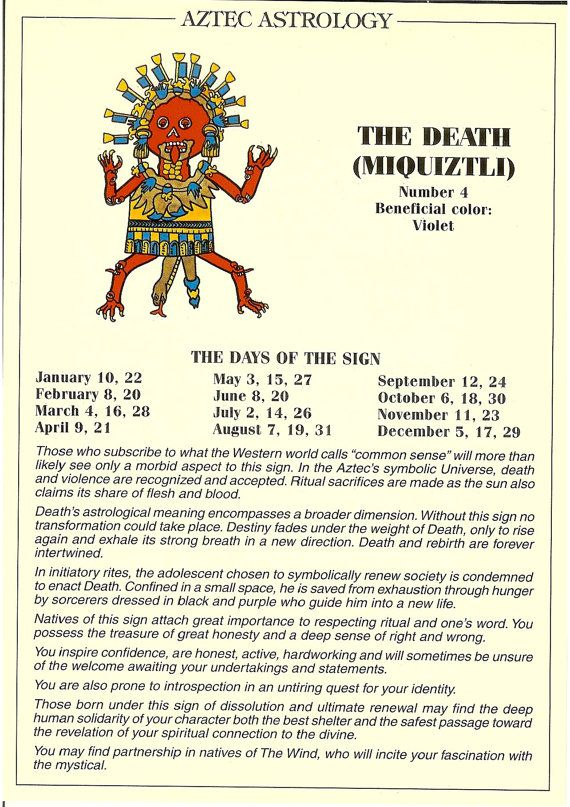 Zodiac Unlimited Aztec Astrology Postcard The Death Astrology