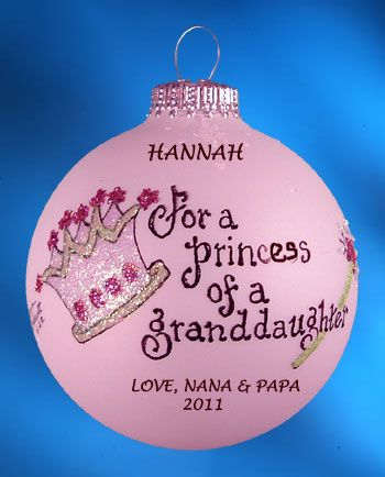 Personalized For a Princess of a Granddaughter Christmas Ornament ...