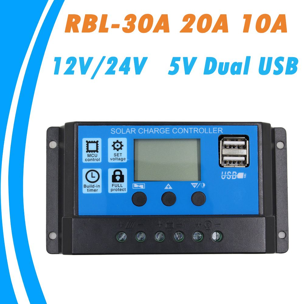 30A 12//24V LCD Display Dual USB Solar Panel Battery Regulator Charge Controller