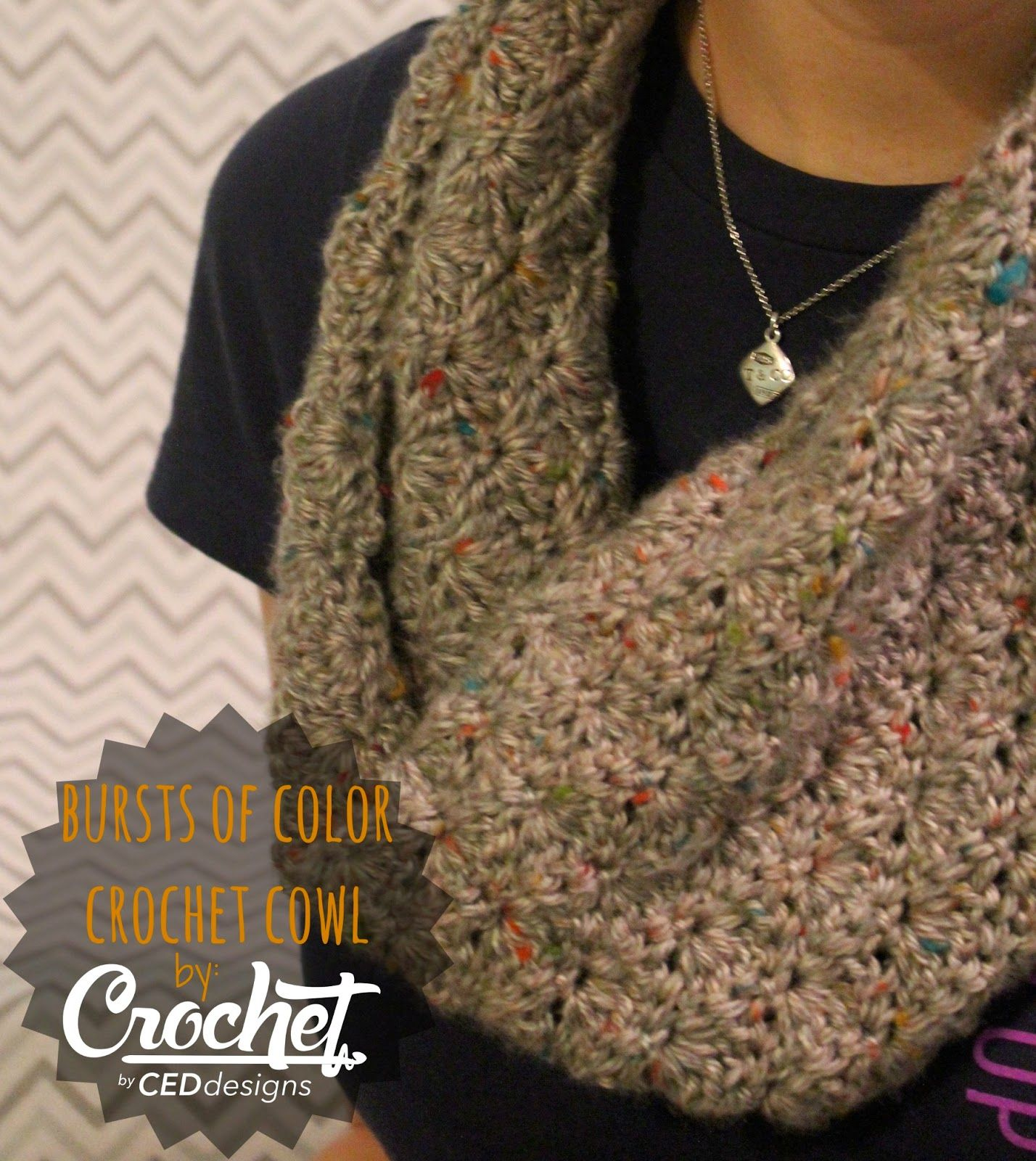 CEDdesigns: bursts of color crochet cowl--FREE Pattern