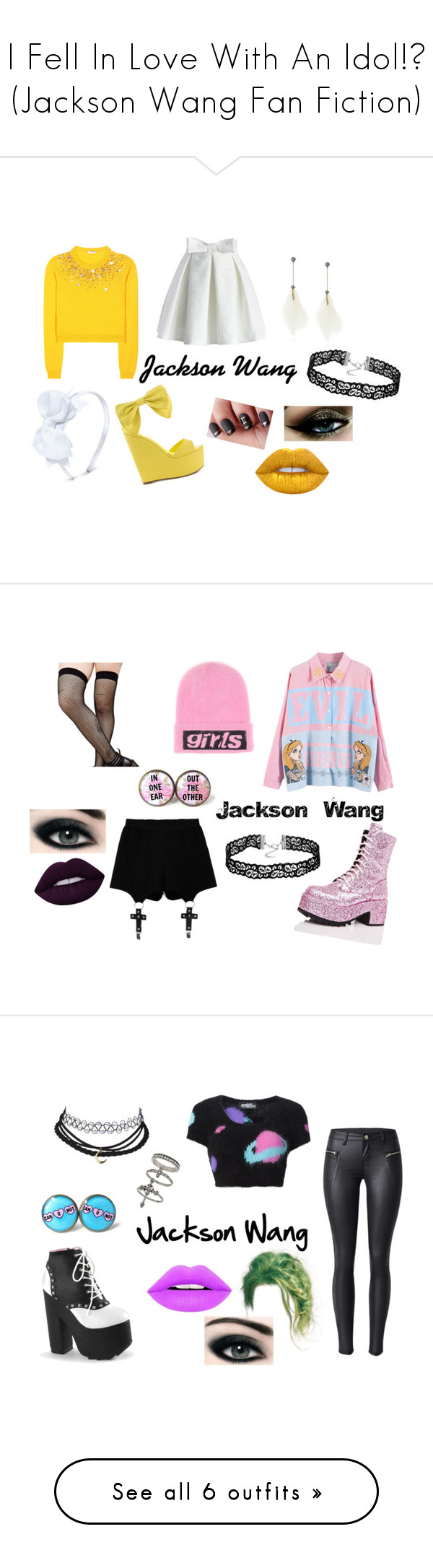 """""""I Fell In Love With An Idol!? (Jackson Wang Fan Fiction)"""" by maddie-213 on Polyvore featuring mode, Privileged, Miu Miu, Chicwish, Betsey Johnson, Lime Crime, Music Legs, Current Mood, Chicnova Fashion en Alexander Wang"""