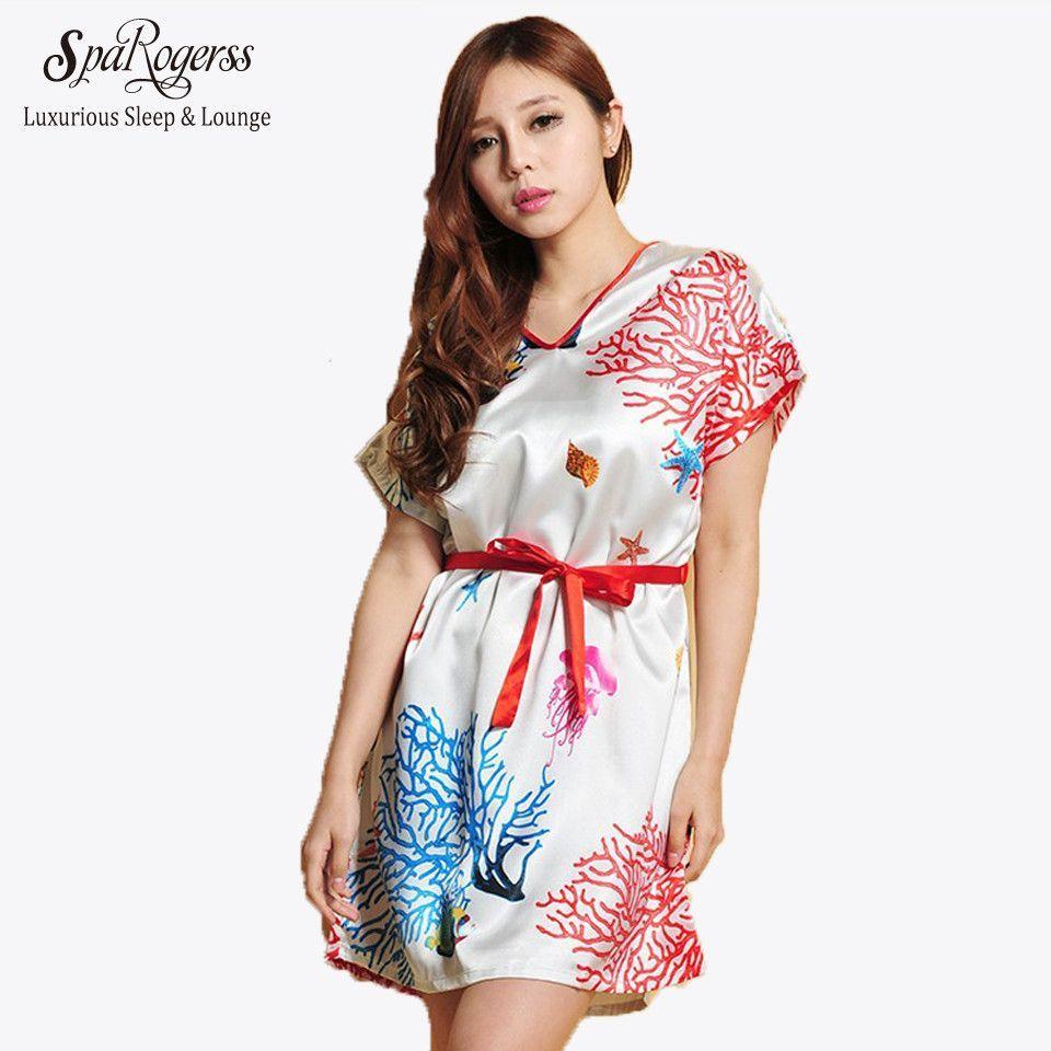 82cf4adbd9 Fashion Women Print Sleep shirts Summer Casual Faux Silk Ladies Dressing  Gown Female Sleep Lounge For