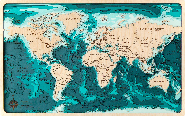 Three Dimensional Wooden Nautical Maps S Izobrazheniyami Karta