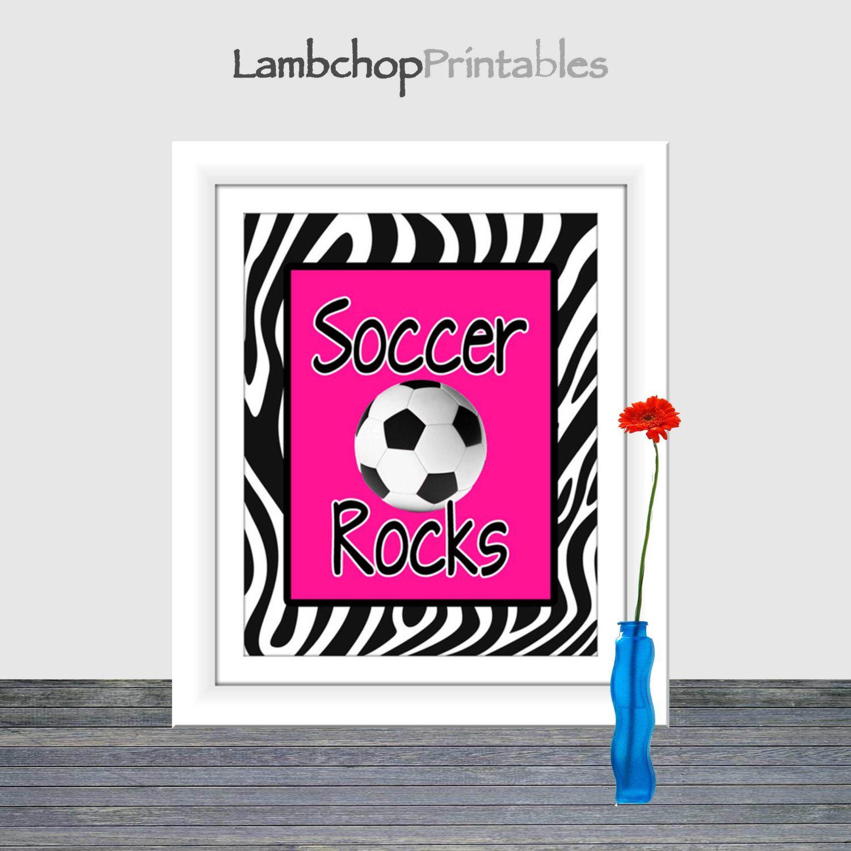 Soccer rocks print hot pink zebra print soccer art print x
