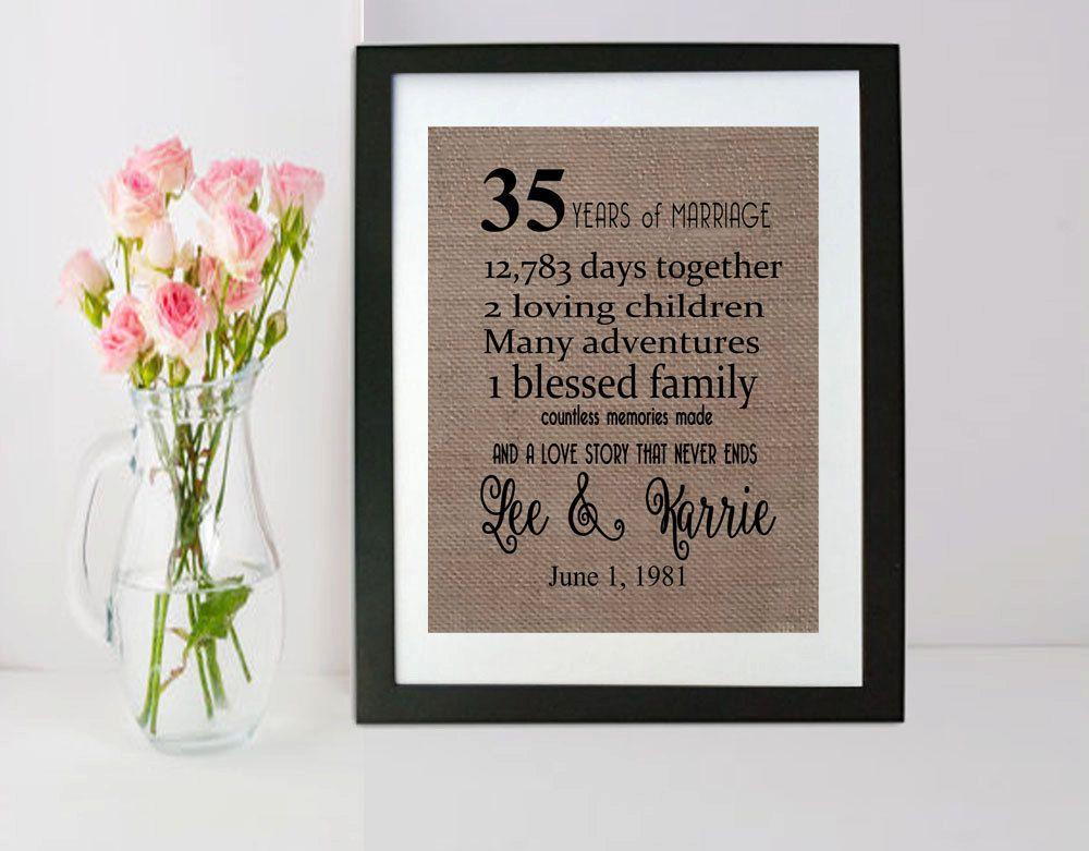 35 Year Wedding Anniversary 35th Anniversary Gift 35 Years Of