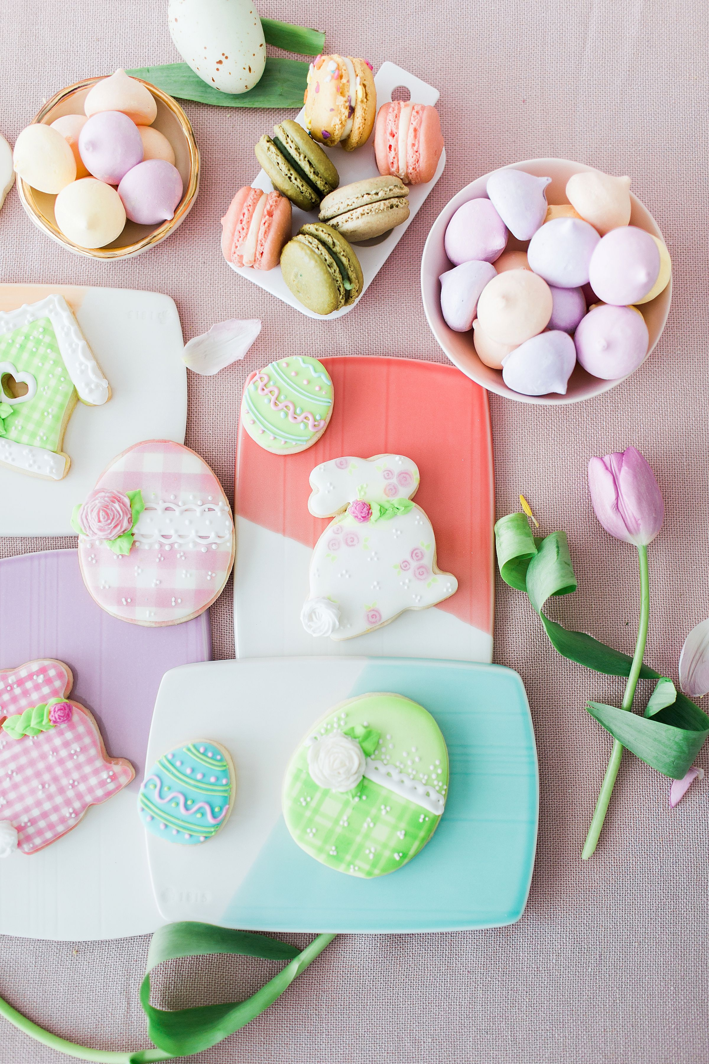 Easter Macaron Decorating Party Harmony Lynn Easter Inspiration Easter Kids Table Easter Party