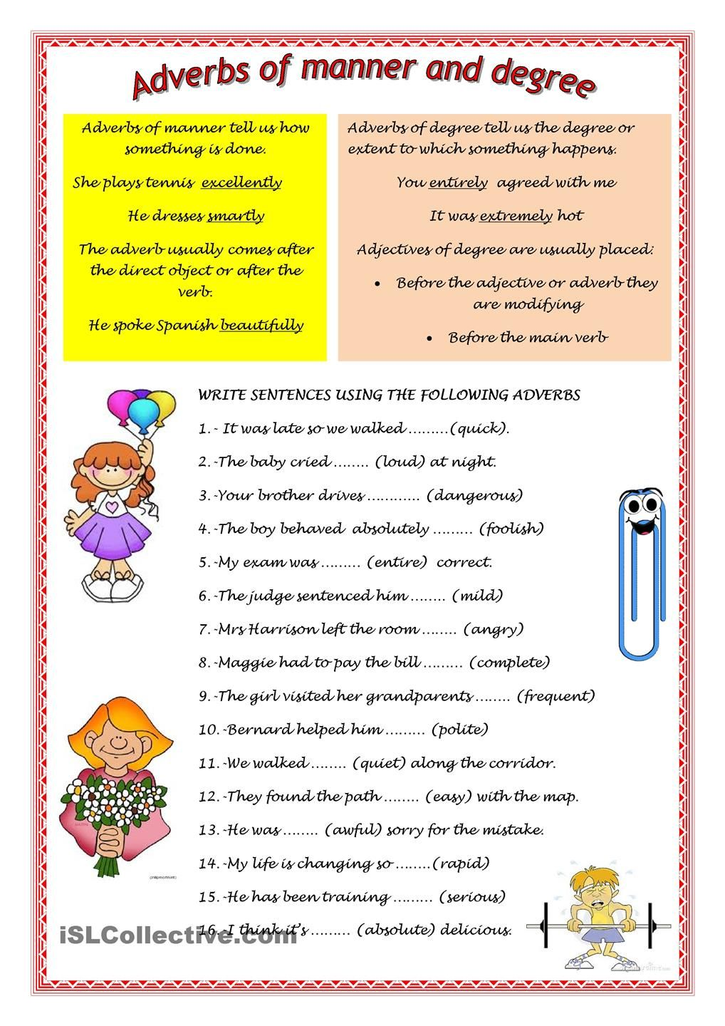 adverbs with images to share Google Search Adverbs
